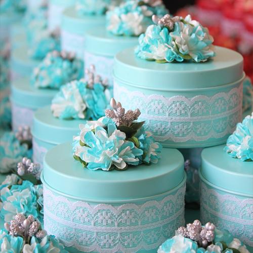 tiffany藍蕾絲喜糖盒